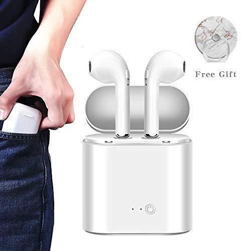 Bluetooth Kopfhörer, Wireless Headset Sport Kopfhörer Kopfhörer Stereo Kopfhörer mit Handy-Ladegerät für Apple Samsung und Android - Weiß