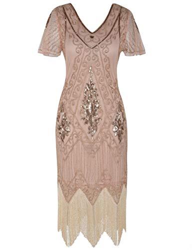 PrettyGuide Damen 1920er Charleston Kleid Pailetten Cocktail Flapper Kleid Mit Ärmel XXL Rosé Gold