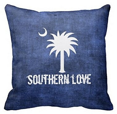 UK-Jewelry Simple Denim Look South Carolina Love Palmetto Tree Personalized Soft Plush Pillowcases Throw Durable Case Perfect For Home Beds 18x18 Inch