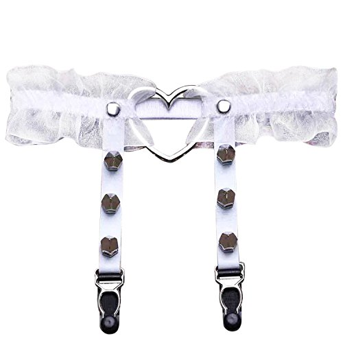 LAEMILIA Damen Strumpband Strumphalter Pentagramm Herzring Punk Nachtclub PU Leder Strapsbänder mit Metall Spitzedesign Dessous Lace