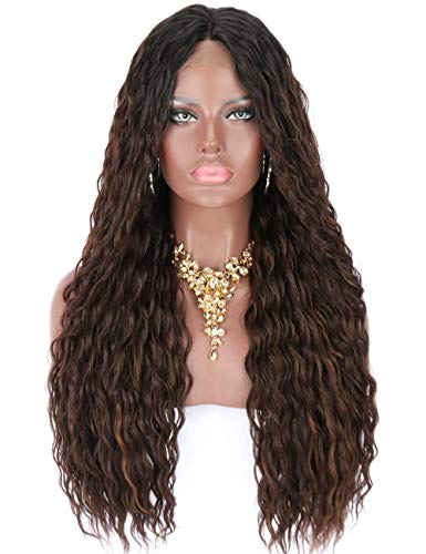 Kalyss Black Roots Ombre Brown Highlights Premium Futura Synthetic Water Wave Curly Lace Front Wigs for Black Women Glueless Middle Parting Half Hand Tied Natural Looking Lace Wigs,26 Inches 0.66 lb (Curly Brown Kostüm Perücken)