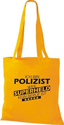 Beruf Polizist bin Stoffbeutel Shirtstown goldgelb ist weil kein Ich Superheld 1qBw0a