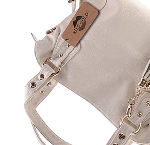 KISS GOLD Damen Handtaschen, Schultertaschen, Beuteltaschen, Hobo Handbag,34x30x10 cm (B x H x T) Weiß