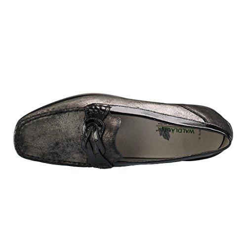 WALDLÄUFER 431009 768 Damen Slipper - Schwarz Schuhe in H Weite Schwarz