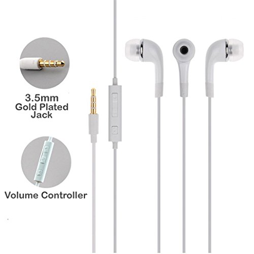 SBA Samsung Galaxy S7 Edge Compatible Certified Stereo Super Bass Earphone Hands-Free Mini Size Headset With Mic, On/Off switch & Volume Controller 3.5Mm Jack Certified