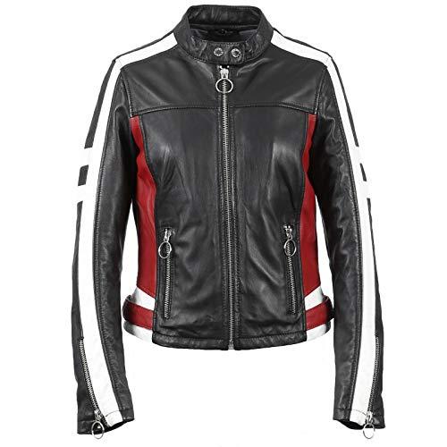 Oakwood Damen Lederjacke Bikerjacke Übergangsjacke Gigi Schwarz Rot Stehkragen Tailliert (M)
