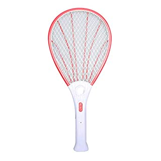 Awhao Mosquito Swatter LED Multi-functional 3-Layer Charging Swatter Large Mesh Surface Shell-Shape Fly Electric Killer (Red)
