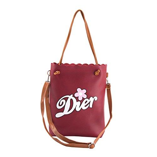 Vbiger Frauen Schultertasche Modische Tragetaschen Multifunktionale Handtasche PU-Leder Umhängetasche mit langen oberen Griff Dunkelrot