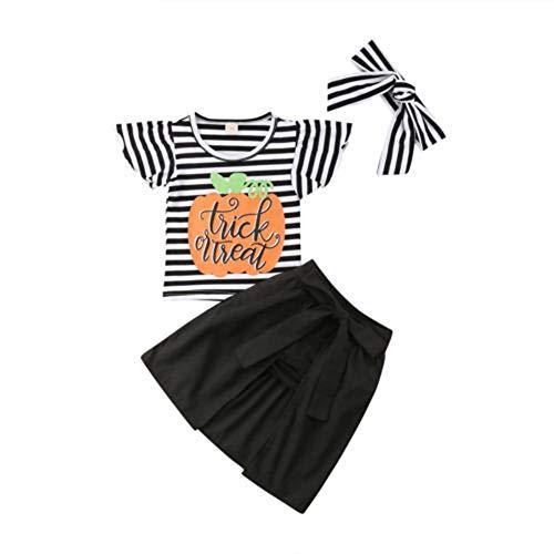 4 STÜCKE Halloween Kleinkind Baby Kürbis Striped Top Print Rock Shorts Kleidung Sets, Kinder Halloween Flying Sleeve gestreiften Tops Shorts Rock 4-teiliges Set (4 Stück Kapuzen Kostüm)