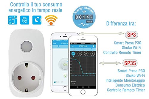 BroadLink SP3S Wi-Fi Smart Plug con monitoraggio energetico SmartLAN socket WLAN (con indicatore di consumo e controllo app) Timer Telecomando Socket Power Automation Switch per iPhone e Android