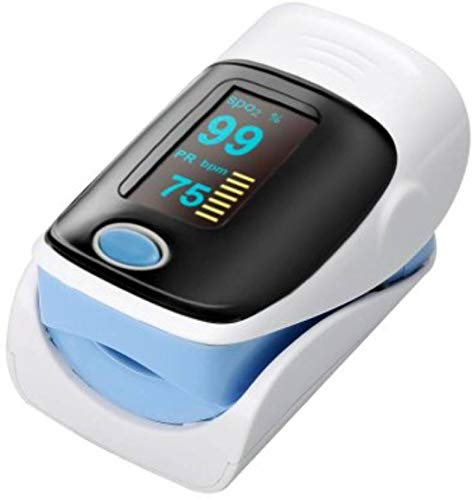 Niscomed Fingertip Pulse Oximeter FPO-91 Blood Saturation Monitor with batteries and Lanyard Sky Blue