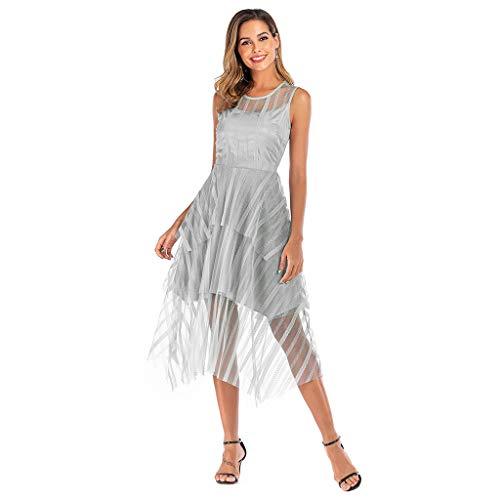 OIKAY Frauen Kleid Retro Süß Spitze Brautjungfern Kleid Spitzenkleid Damen Schlank Ärmellos Lässig Party Langes Kleid CocktailKleid Kleider Damen - Süße Candy Bar Kostüm