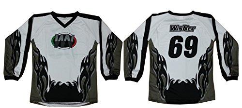 WinNet maglia maglietta per moto da cross grigio nero numero 76