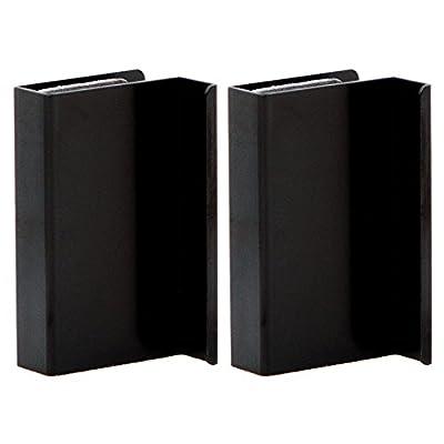 2 x Metal Black Glass Door Handles Finger Pulls - low-cost UK door handle store.