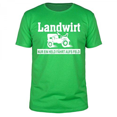 FABTEE - Nur ein Held fährt aufs Feld Landwirt Bauer Traktor Fun T-Shirt Herren - Größen S-5XL, Größe:S;Farbe:Grün (Sweatshirts Deere Männer John Für)