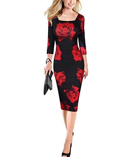 Modetrend Femmes Élégant Robe de Soirée Cocktail Mariage Crayon Moulante Vintage Robe Rose Imprimé Dress Rouge