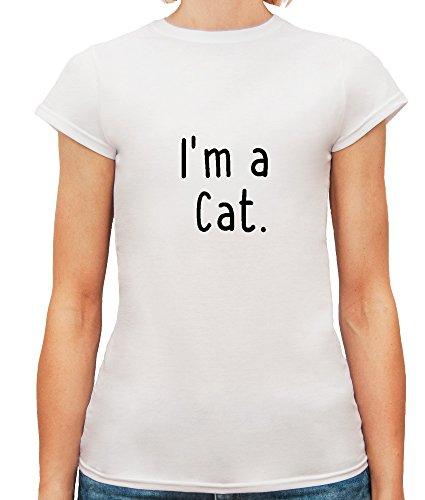 Mesdames T-Shirt avec I'm a Cat Funny Phrase imprimé. Blanc