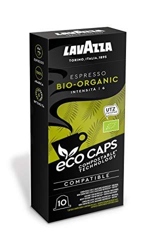 Lavazza 100 Nespresso kompatible Eco Caps Kapseln, kompostierbar, Kaffee Bio Organic, 10 x 10er Pack (530 g)