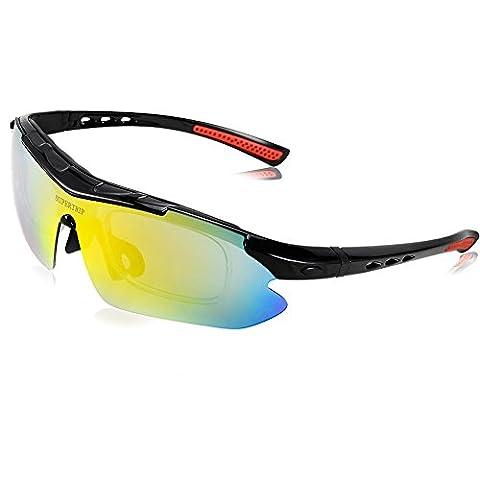 Supertrip Unisex Fahrradbrille Sportsonnenbrille Polarisierte UV400 Schutzbrille Radsportbrille Motorradbrille mit austauschbare Abnehmbarem 5 Linsen Color Schwarz/Rot