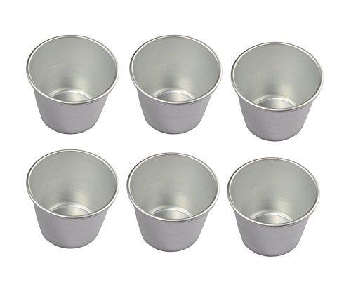 Astra Shop Set 6Aluminiumguss Individuelle Becher popovers| Schokolade Molten pans| Pudding cups| Raspberry Souffle pot| darioles Auflaufförmchen Brownies Form-Größe 7,6cm - Popover-set