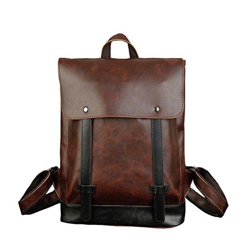 Cool&D PU Leder Rucksack Lederrucksack Schultertasche Ledertasche Vintage Design Große Kapazität für Herren und Damen