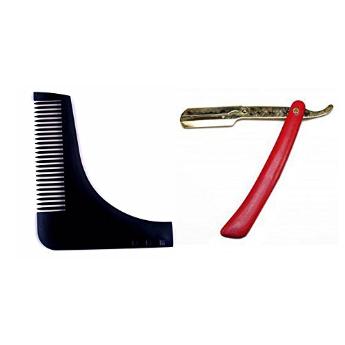 Shaping Template Comb Tool (Black) with Stainless Steel Straight Razor With Plastic Handle