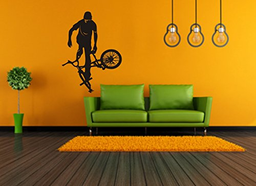 WANDTATTOO - BMX - Fahrrad - Sport - verschiedene Farben und Größen (620 mm x 450 mm, Schwarz)