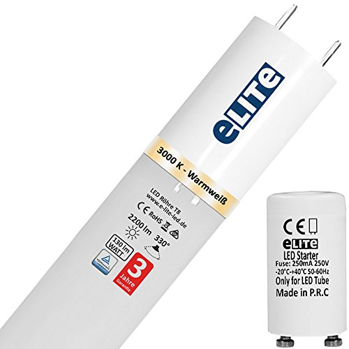 eLITe SMART LED Röhre T8 | G13 | 120cm | 17W | 3000K | 830 | 2200lm hell | 330° | 130lm/W | Glas bruchresistent kein Durchhängen | TÜV | für Behörden und Firmen geeignet | Warmweiß