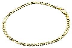Idea Regalo - Bracciale catena a maglia piatta oro giallo 14carati 585 -larghezza 4.40mm - Unisex e Oro giallo, cod. ART-3-YG