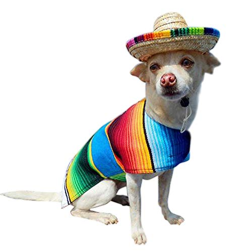 Mexiko Un Kostüm - Gfeu Stroh-Sombrero für Hunde, 2 Stück, lustiger mexikanischer Stil, Hundesonnenhut, Kostüm, Party-Dekoration