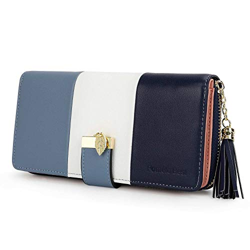 Blaue Damen Geldbörse (Pomelo Best Damen Geldbörse Mehrfarbig gestreift Portmonee (Typ 2 Blau))