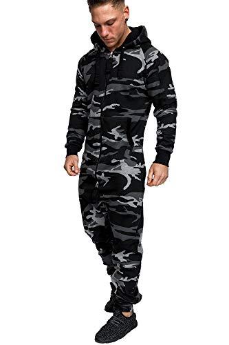 Amaci&Sons Herren Overall Jumpsuit Jogging Onesie Trainingsanzug Camouflage 3001 Camo Black/Black L