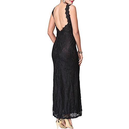 Meijunter Kleider Damen Elegant V-Ausschnitt Lace A-Linie Kleid Vintage Ärmellos Hohl-out Kleider Abend Party kleider Sommer Lang Schwarz