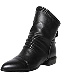 HKFV Frauen Damen Stiefeletten Biker Boots Stiefeletten im Cowboy mit Nieten  – Kurzschaft Stiefel Flach - 8d173d0bd3