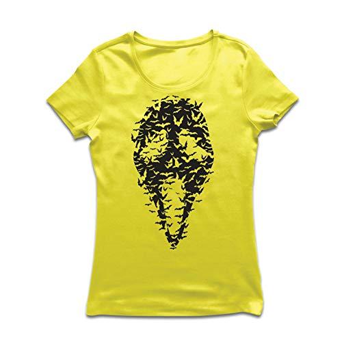 lepni.me Frauen T-Shirt Geister - gruselige Fledermäuse, Halloween Partykostüm (XX-Large Gelb Mehrfarben)