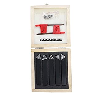 Accusize - 5 Pcs/Set 1/2'' Indexable Carbide Insert Turning Tool Bits, 2380-5082