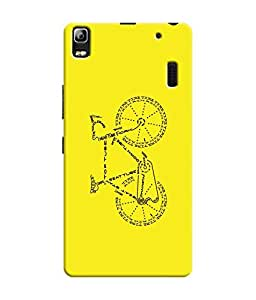 """NH10 DESIGNS 3D PRINTING DESIGNER HARD SHELL POLYCARBONATE """"BICYCLE, WORD ART, YELLOW"""" PRINTED SHOCK PROOF WATER RESISTANT SLIM BACK COVER MATT FINISH FOR LENEVO A7000"""