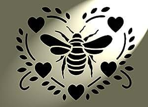 Cœurs style shabby chic Pochoir Bee style vintage rustique A4297x 210mm Meubles Art Français