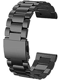 Malloom Nueva moda brazalete de acero inoxidable correa de muñeca Watch Band para Garmin Fenix 3 (negro)