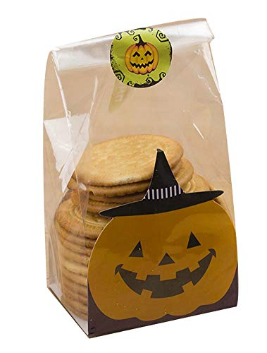 Black Temptation Pack von 50 niedlichen Süßigkeiten Wrappers Cookie Taschen für Halloween, G2