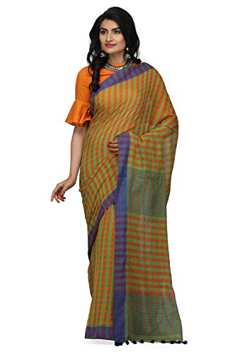 The Weave Traveller Handloom Women's Hand Woven Soft Cotton Gamcha/Checkered Saree With...