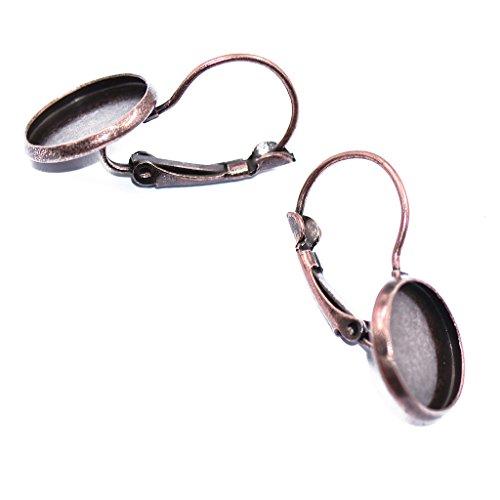 Homyl 12er Set Klappbrisuren mit Fassung Ohrhaken Ohrringe Haken Cabochons Ohrschmuck DIY - Kupfer, 27x14mm