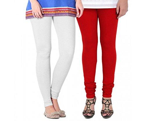 M.G.R.J Women\'s Cotton Lycra Churidar Leggings Combo (Pack of 2 White, Red ) - Free Size