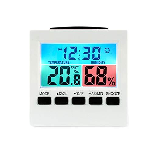 King Boutiques Weather Clock LCD Digital Sound Control Wetterstation Thermometer Hygrometer Wecker Schlummerfunktion Mit Hintergrundbeleuchtung Haushaltsgegenstände (Color : White)