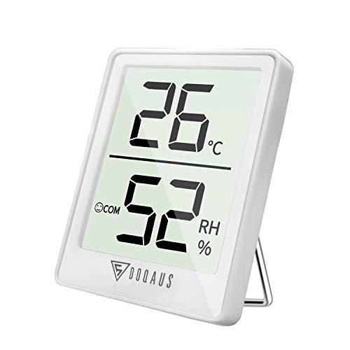 Doqaus termometro igrometro digitale, termoigrometro lcd con l'icona di comforto termometro ambiente interni rilevatore di umidità per ambienti misura temperatura & umidità per serra/stanza (bianco)