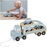 LITTLE DUTCH 4362 Holz Truck mit Anhänger und 3 Autos mint blau