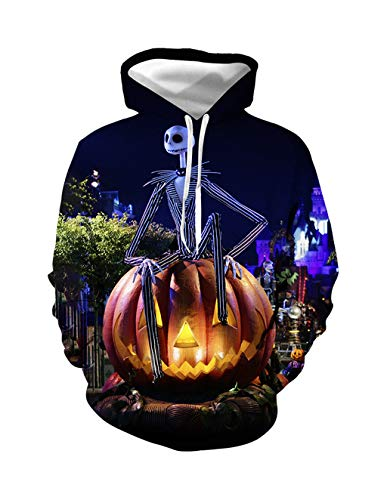 Herren Kapuzenpullover Halloween, Unisex Horror Jack Skellington Kürbis 3D Cosplay Hoodie Jungen Skull Pullover Männer Clown Pulli Damen Sweatshirt Oberteile Langarmshirts Kostüm - Awesome Kostüm Männer