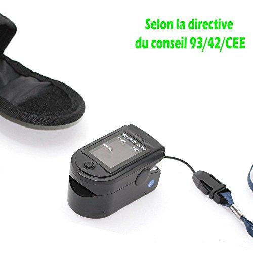 Fingerpulsoximeter SPO2 - Messbreite: 30 bpm - 250 bpm. Gemäß der Richtlinie des Rates 93/42/CEE - Trageband + Etui