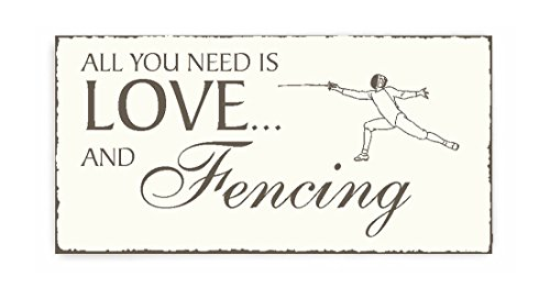 SCHILD Dekoschild « All you need is LOVE and FENCING » Holzschild Türschild Dekoration Fechten