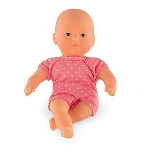 Corolle- Muñeco bebé Mini Calin Frambuesa 20cm con Pelele Corto Rosa, Color (9000120010)